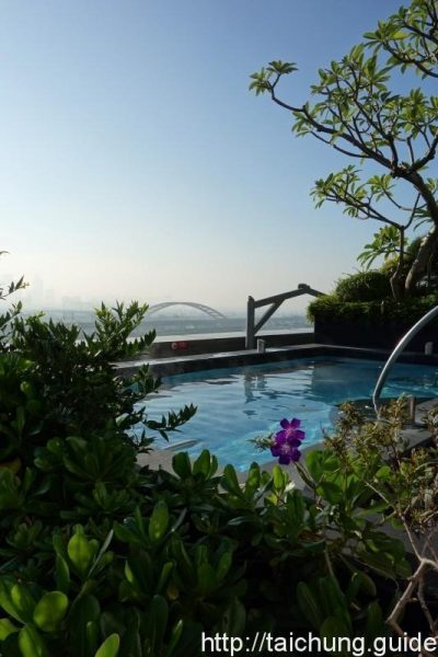 The outdoor pool overlooking Taichung