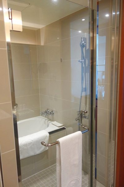 Taichung Harbor Hotel. The shower room.