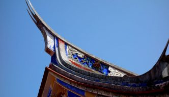 Swallow-tail roof at Zhang Family Temple in Taichung.